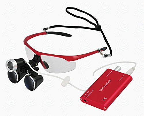 High Quality Dental Surgical Binocular Loupes Optical Glass Loupe 3.5X420mm with LED Head Light Lamp (Red) ()