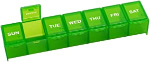 EZY DOSE Travel (7-Day) Pill, Medicine, Vitamin Organizer Box, Weekly, Large Compartments, Green