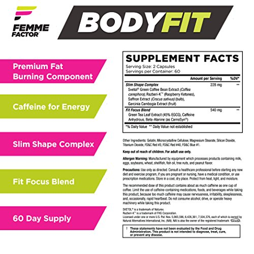 Femme Factor Body Fit, Fat Burner + Metabolism Booster, Lean Lifestyle Pre-Workout, 120 Count
