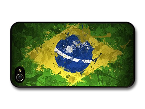 Green, Yellow and Blue Brazil Flag, South America and Football coque pour iPhone 4 4S