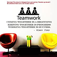 """Wall Decals Teamwork """"Coming Together Is a Beginning"""" Henry Ford Quote Decal Vinyl Sticker Motivation Quote Office Decor Bedroom Interior Window Decals Living Room Art Murals"""