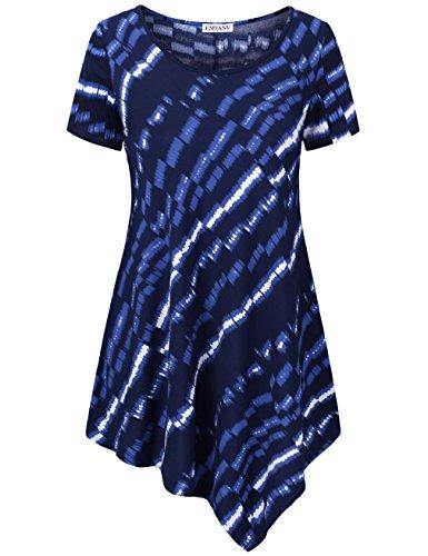 EMVANV Tunic Blouse,Chic Stylish Shirts Short Sleeve Juniors Top,Blue - Stylish Chic