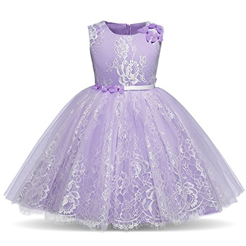 TTYAOVO Lace Chiffon Embroidered Flower Girls Wedding Bridesmaid Pageant Dresses Size 2-3 Years -