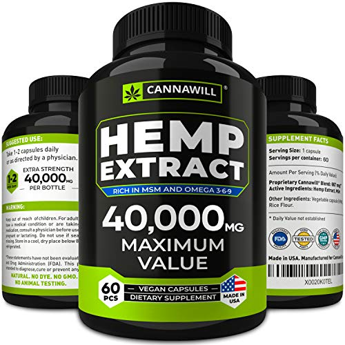 Hemp Oil Capsules 40000MG - Best for Anxiety & Stress Relief - Hemp Seed Oil Capsules Made in USA - 100% Natural Anti Inflammatory