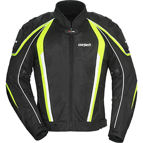 Cortech GX Sport Air 4.0 Adult Mesh Road Race Motorcycle Jacket - Black/Hi-Viz Yellow/X-Large