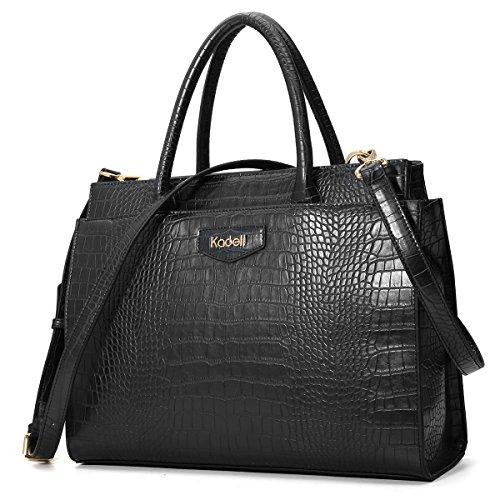 Kadell Women's Leather Designer Handbags Crocodile Embossed Shoulder Bag Satchel for Ladies Black -