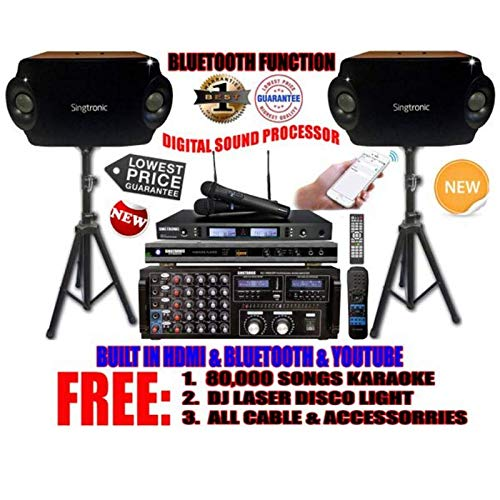 SINGTRONIC PROFESSIONAL 2000 WATTS COMPLETE KARAOKE SYSTEM PACKAGE FREE: 80,000 KARAOKE SONGS, BUILT IN USB RECORDING, WIFI, YOUTUBE & BLUETOOTH FUNCTION.