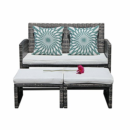 - Orange Casual 3 Pieces Outdoor Wicker Loveseat Sofa Furniture Set with Ottoman Cushioned Seat Lounge Chair Couch for Patio, Backyard, Poolside