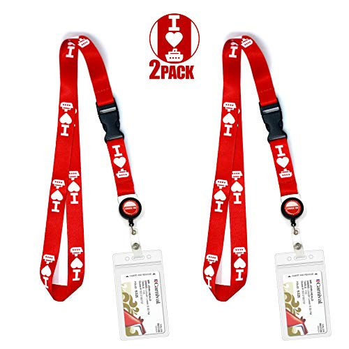 Cruise Lanyard ID Holder Ship Card Lanyards & Accessories by Cruise On - fits Carnival, Royal Caribbean, Disney & All Cruises Ships Key Cards with Retractable Badge Reel & Waterproof Pouch [2 Pack]
