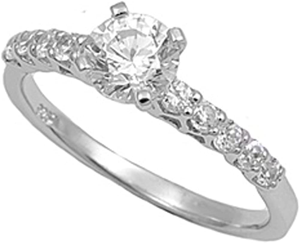 Sterling Silver Womans Clear CZ Engagement Ring Promise 925 Band 6mm Sizes 4-12