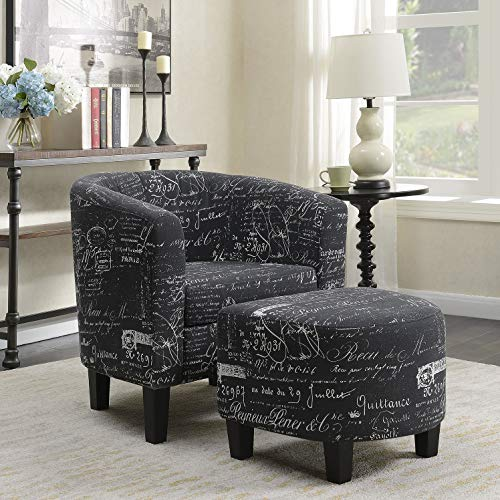 (Belleze Accent Club Chair with Ottoman Modern Stylish Round Arms Curved Back French Print Script Linen Fabric, Black)
