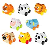 (Set of 8)Friction Powered Animal Cars, Panda, Lion, Dog and More