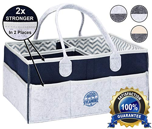 Baby Diaper Caddy Organizer | Storage Basket for Nursery Changing Table | Large Portable Car Travel Tote Carrier | Shower Gift | Newborn Registry Must Haves | Gender Neutral Felt Bag for Girls - Boys