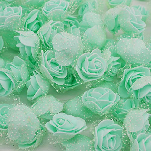 50Pcs/Lot 3.5Cm Mini Artificial Rose Heads Silk PE Foam Flowers for Home Garden DIY Pompom Wreaths Wedding Decor Supplies Mint Green from Aosreng