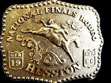 - 1986 Hesston/National Finals Rodeo Belt Buckle -- Bronc Riding
