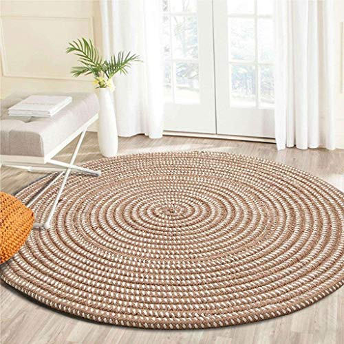 WT Area rugs BJLWTQ Carpet, Woven Round Computer Chair Cushion Cushion Bedroom Study Home (Color : Deep Camel, Size : Diameter 60CM)