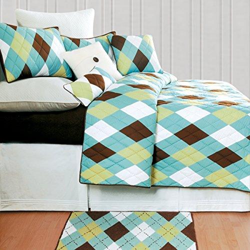 C&F Home Argyle Aqua 3 Piece Quilt Set All-Season Reversible Bedspread Oversized Bedding Coverlet, Full/Queen Size,