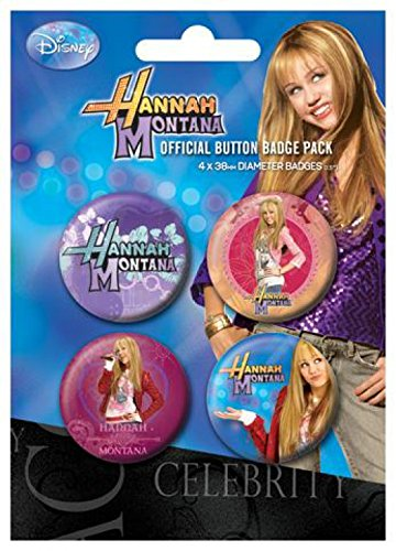 Hannah Montana Badge Pack - 4 X 38mm Badges (6 x 4 inches)
