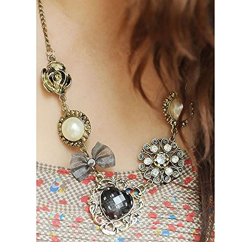 Usstore Women Charm Prom Multilayer Rose Necklaces Heart-shaped Bow Pearl Diamond Pendants Alloy Gift (Diamond Set Bow Pendant)