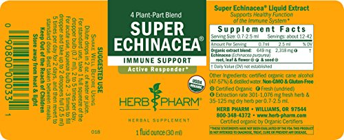 Herb Pharm Certified Organic Super Echinacea Extract for Active Immune System Support - 1 Ounce