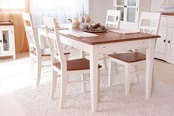 Esstisch 180cm Gotland Weiß Massiv Esszimmer Küchentisch Speisetisch