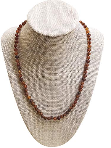 Raw Baltic Amber Adult Necklace- Raw Cognac Color - 18 inches Long - Anti-inflammatory - Natural Pain Relief for Carpel Tunnel, Arthritis, Sinus Pressure, Headaches and Migraines