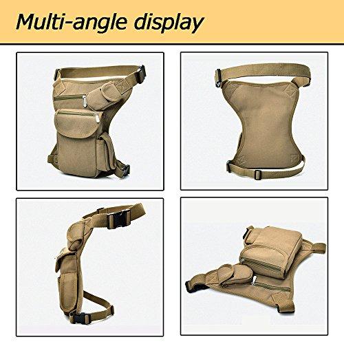 A-szcxtop Taktische Leinen-Beintasche mit mehreren Fächer, leicht tragbar für Hundespaziergänge, Motorrad- oder Fahrradtouren, mit verstellbarem Gurt. grün