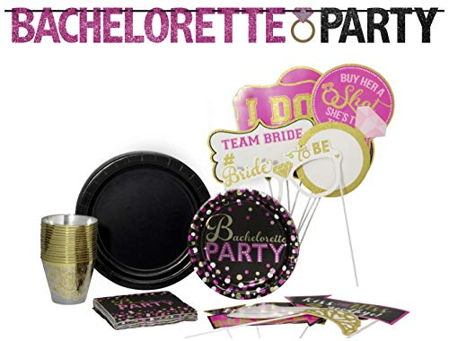 Bachelorette Party Pack! Disposable Paper Plates, Banner Kit, Photo Prop Cutouts, Napkins and Cups Set for 15 (With free extras) ()