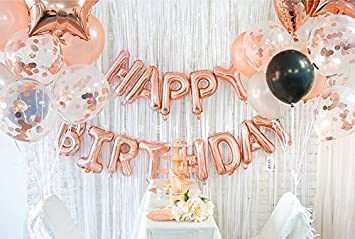 Happy Birthday Rose Gold Decoration With Foil Banner Star And Mylar Heart Balloons