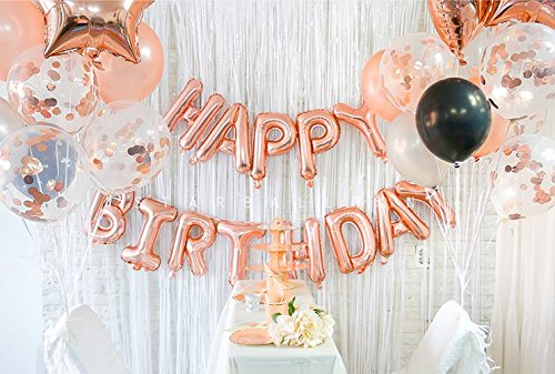 Amazon Happy Birthday 18th Rose Gold Decoration With Foil Banner Star And Mylar Heart Balloons Confetti Balloon Latex