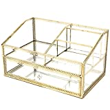 Hersoo Large Accent Design Ornate Decorative Perfume Tray with Drawer Mirror Vintage Jewelry Organizer for Home/Skincare/Vanity/Desser/Bathroom/Countertop Gold Display