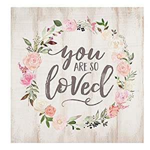 P. GRAHAM DUNN You are So Loved Floral Wreath Whitewash 5.5 x 5.5 Solid Wood Barnhouse Block Sign 7