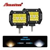 Multi-Color Light Bar, Autofeel 4 Inch 18W 5D Lens Spot Beam Safety Lights Amber lamp Night Lights For Offroad Automotive/Jeep /Emergency/ Boating/Fishing/Hunting/Camping/Hiking/Patrolling