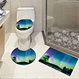 jwchijimwyc Northern Lights pattern Sky over Lake Surrounded Forest Woods Hemisphere Print 3 Piece Toilet mat set Violet Blue Lime Green Purple