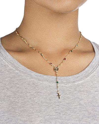 Two Year Warranty Gold Overlay Rosary Cross Pendant & Open Arms Charm with Multicolored Stones 16 Inch Necklace