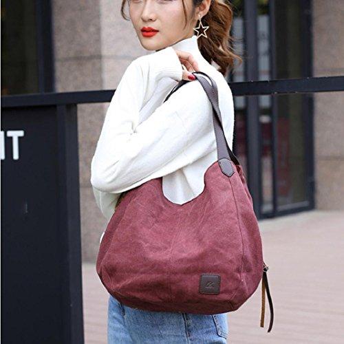 Shoulder Messenger Female Canvas Casual ShenPr Hobos Vintage Single Bags Women's Gray Handbags Solid Purple ZBFxZnvzqw