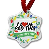 Personalized Name Christmas Ornament, I Love Pad Thai NEONBLOND