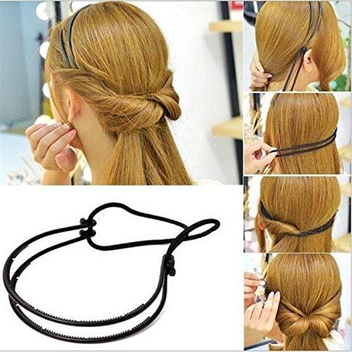 Adjustable Double Headband - Durable Hot Sale Fashion Women Hair Bands Girl Double Layer Adjustable Head Hair Hoop Elastic Hair Rope Head Band Hair Accessories Black