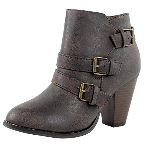 (Forever Women's Buckle Strap Block Heel Ankle Booties, Brown 9)