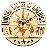 Gebihs 11.5 Inch Wooden Decorative Wall Clock, Silent Non Ticking Quality Quartz Battery Operated Original Design America Spirit Art Clock (America - Statue of Liberty)