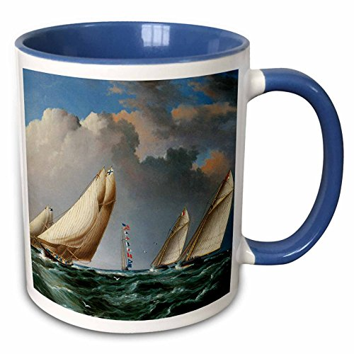 3dRose BLN Sailing Ships and Seascapes Fine Art Collection - Yachts Rounding the Mark by James Buttersworth - 15oz Two-Tone Blue Mug (mug_126758_11) ()