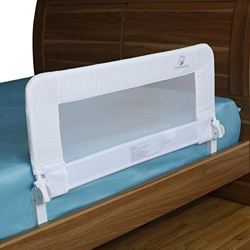 Toddler Bed Rail Guard for Convertible Crib, Kids Twin, Double, Full Size Queen & King Mattress - Bed Rails for Toddlers - Universal Fit for Slats & Boxspring - Children & Baby Bedrail (White Reg