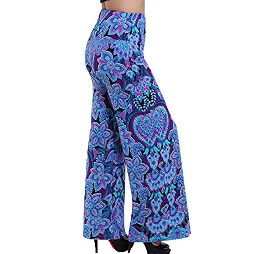 - LisYOU Women's Palazzo Pants High Waist Solid and Printed Designs(XL,Blue)