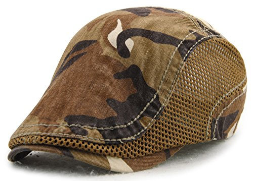 YCHY Cotton Flat Cap Duckbill Hat Newsboy Ivy Irish Cabbie Scally Cap,Camouflage Color (Light Coffee-With Side Mesh)