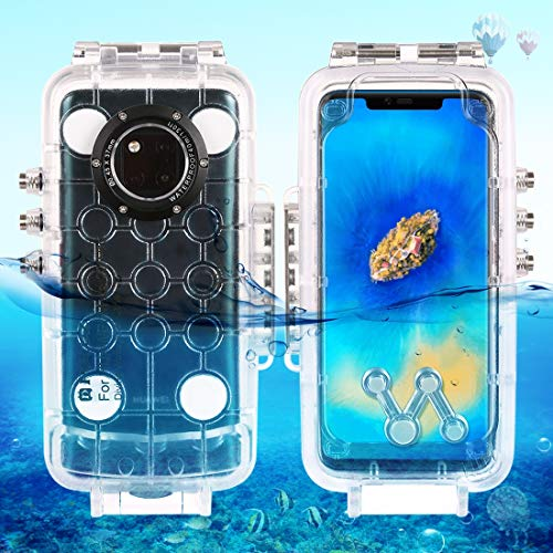 40m/130ft Waterproof Diving Housing Photo Video Taking Underwater Cover Case for Huawei Mate 20 Pro (Transparent) Durable (Color : Transparent)