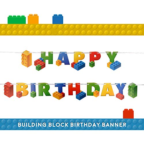 Building Block Birthday Party Supplies Banner by Aliza | Baby Boy Toddler Kids Birthday Decorations - Huge 7-feet Long Brick Themed Birthday Decor - The Perfect Decoration for Your Party -