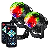 Litake Party Lights Disco Ball Strobe Light Disco Lights, 7 Colors Changing Sound Activated Stage Light with Remote Control for Festival Bar Club Party Wedding Show -2 Pack