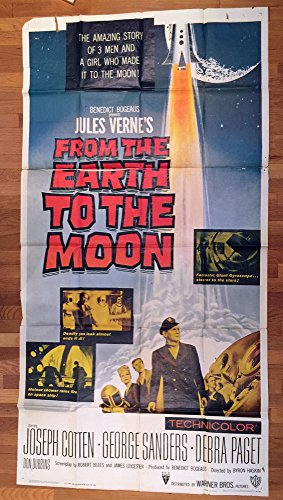 From The Earth To The Moon (1958) Original Three Sheet Movie Poster 41x81 Theater-used SCIENCE FICTION MOVIE based on JULES VERNE NOVEL JOSEPH COTTEN GEORGE SANDERS DEBRA PAGET Very Good Condition