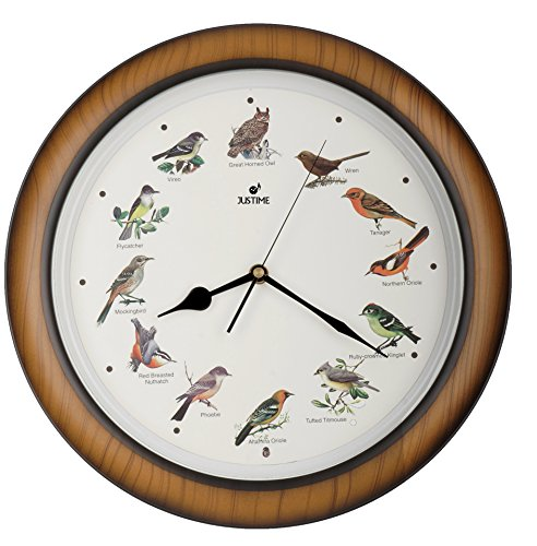 JUSTIME Lovely Collection 14-inch Plays 12 Popular North American Bird's Songs Wall Clock Mantel Clock Home Deco Multicolor(TCBD064 Wooden Grain)