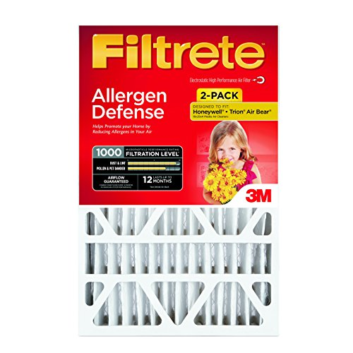 Filtrete Micro Allergen Defense Deep Pleat Filter, MPR 1000, 16-Inch x 25-Inch x 4-Inch (4-3/8-Inch Depth), 2-Pack